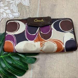 Coach signature button multicolored fold wallet